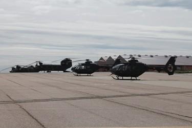Helicópteros en el Cuartel General de las FAMET. Foto: Verónica Sánchez.