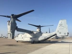 Un MV-22B Osprey perteneciente a la Special Purpose Marine Air-Ground Task Force estacionado en la Base Aérea de Morón de la Frontera