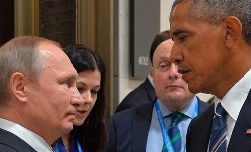 El Presidente de Estados Unidos, Barak Obama y Vladimir Putin, Presidente de Rusia