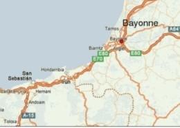 Mapa político que muestra la distancia existente entre Bayona (Francia) y España