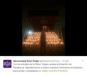 La Hermandad del Gran Poder agradeció a sus hermanos el esfuerzo realizado para completar la estación de penitencia vía Twitter:
